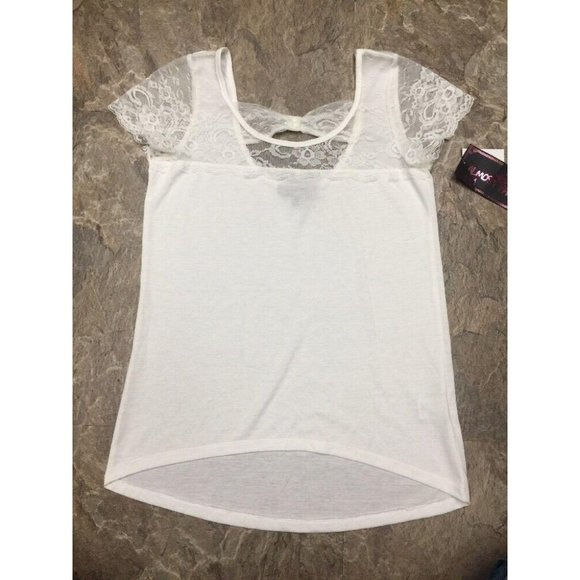 White Knit Top Lace Top Shoulders Basic Shirt NWT